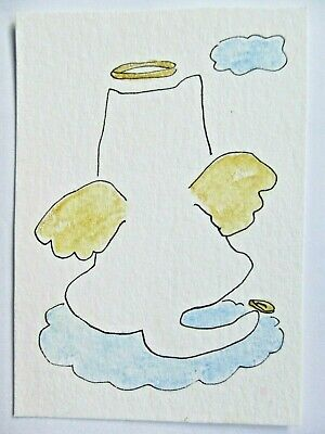 ACEO Original Watercolor Kitty Gold Halo Wings Cloud Resting Angel Cat MiloLee