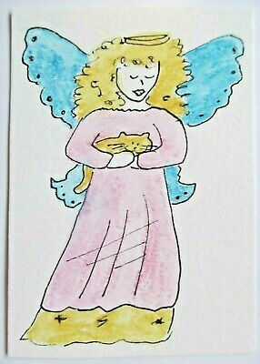 ACEO Original Watercolor Cat and Angel Love Pink Blue Wings Gold Halo by MiloLee