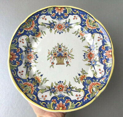Finely Handpainted Antique Desvres Rouen French Faience Pottery Wall Plate