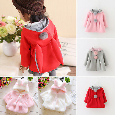 Baby Kids Girls Rabbit Ear Hooded Jackets Winter Coat Cloak Tops Fleece Outwear