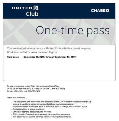2x United Club One Time Pass EXP 09/17/2019 Chase - Same Day E-Delivery
