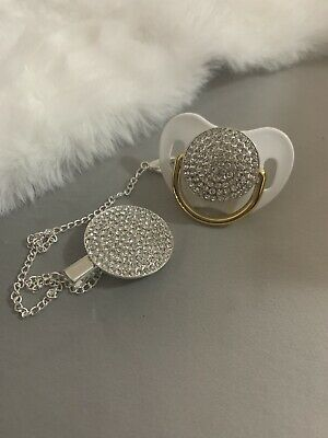 Metallic Bling Romany Style White Gold Baby Dummy & Clip * Pacifier * Soother *