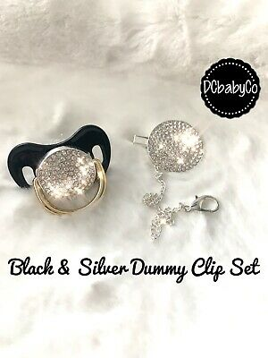 Metallic Bling Romany Style Black Gold Baby Dummy & Clip Pacifier Soother Gem 💎