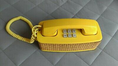 Vintage Western Electric Wicker Basket Yellow Button Telephone