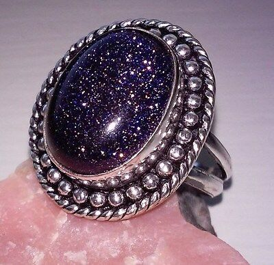 Blue Goldstone Oval Cabochon Silver Plated Bead Design Ring - 7.3 grams