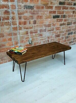 Rustic Coffee Table/Hairpin Legs Furniture/Solid Pine Wood/Chunky Solid Table