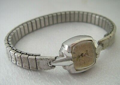 Elgin Vintage Ladies Wrist Watch White Rolled Gold Plated 19J Adj Silver Color