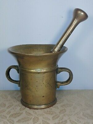 LOOK Antique Solid Brass Side Handle Mortar & Pestle Apothecary Heavy 4.10-3 lbs
