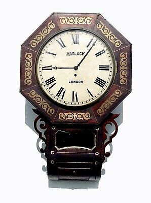 Mahogany Drop Dial Fusee Wall Clock With Brass Inlays