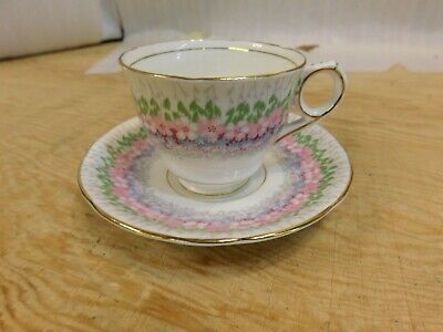 Royal Albert Interlude Cup Saucer Pink Thistle Green and Gold