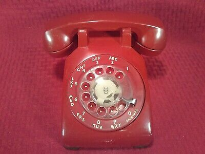 Red Western Electric Bell System 500 Rotary Desk Telephone