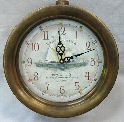 """Timeworks Double Sided Railway Station Nautical Hanging Wall Clock - 10.5"""" x 6"""""""