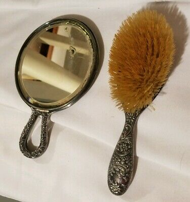 Antique Sterling Silver Vanity Brush And Mirror Ornate Hairbrush
