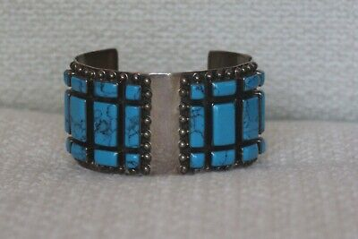Big STERLING SILVER & Blue-Green TURQUOISE Cuff Bracelet, Mexico