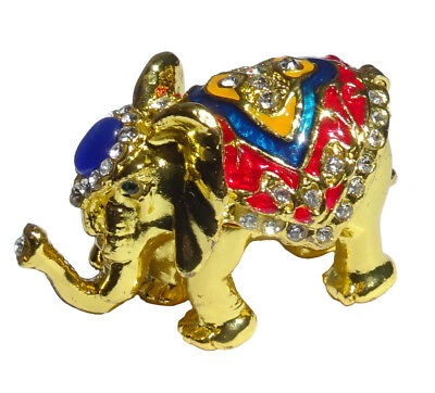 Elephant - Metal gold-plated with enamel rhinestones hidden compartment  -  ME03