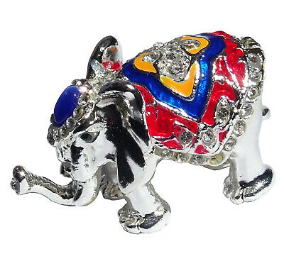 Elephant   Metal silver-colored with enamel rhinestones hidden compartment  ME06