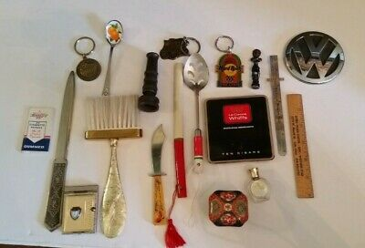Vintage Antique Junk Drawer Lot Volkswagon Envelope Opener Keychains Tin Spoon