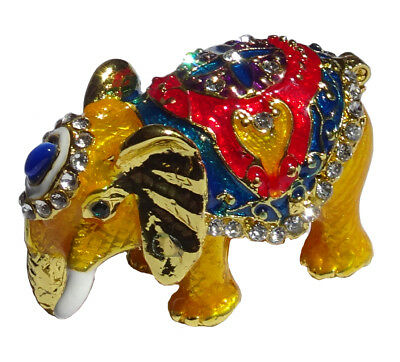 Elephant   Metal gold-colored with enamel rhinestones hidden compartment    ME08