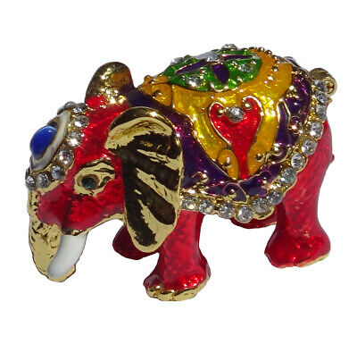 Elephant   Metal gold-colored with enamel rhinestones hidden compartment    ME09