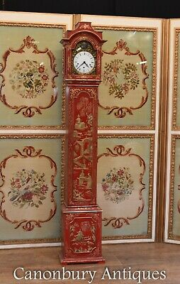 Chinese Regency Grandmother Clock Red Lacquer Chinoiserie