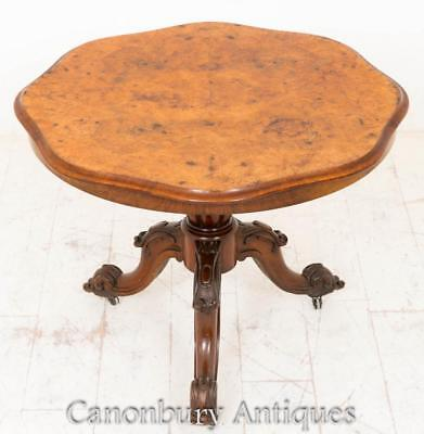 Victorian Centre Table - Burr Walnut Antique Tables Circa 1860