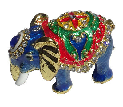 Elephant   Metal gold-colored with enamel rhinestones hidden compartment    ME15