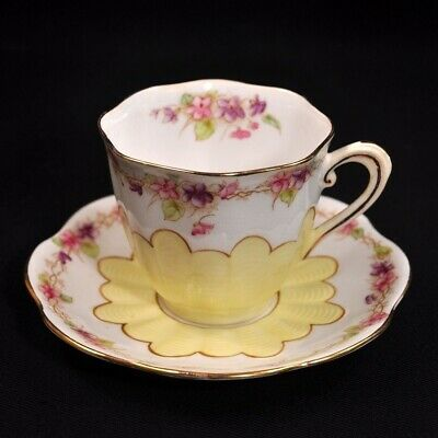 Royal Albert Crown Cup Saucer A1124 Yellow Floral Garland Gold Ribbed 1925-1927