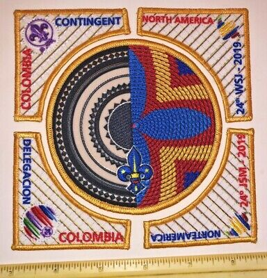 Colombia 5 Piece Contingent Badge Patch 2019 24th World Boy Scout Jamboree MINT
