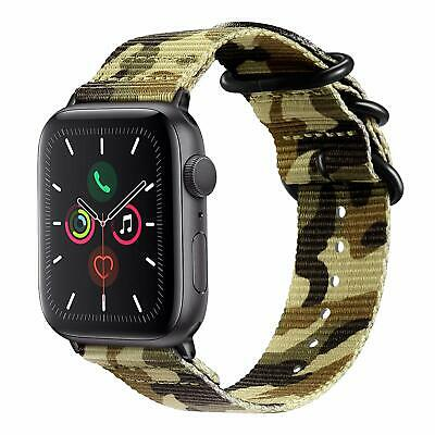 For iWatch Apple Watch Series 5 2019 44mm Nylon Woven Band Strap Replacement