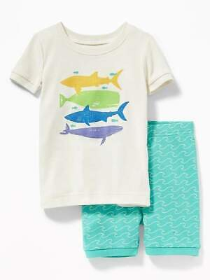 NWT BOYS OLD NAVY PAJAMAS PJS SIZE 3T SHARK FISH WHALE 2 PC SHORTS UNDER THE SEA