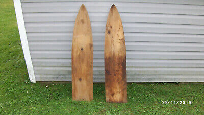 2 Early Hand Crafted Wood Fur Hide Stretchers Wooden 1950's