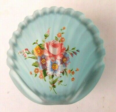 Seashell Trinket Box Blue Glass Shell Shaped Hinged Lid Floral Vintage Vanity