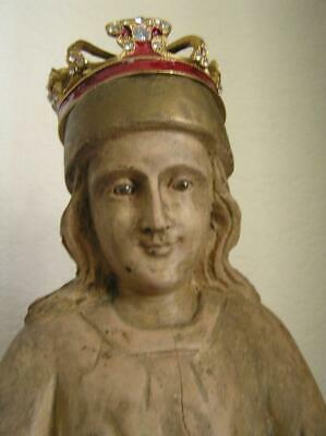 """Antique Wood Carved Saint with Glass Eyes and Crown 19"""" tall"""