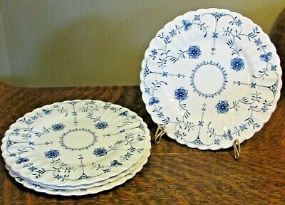 """J & G Meakin """"Scandia"""" Blue & White Ironstone Bread and Butter Plates (4)"""