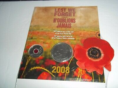 2008 Canada Rcm 2-25 Cents Lest We Forget Commemorative Set First World War