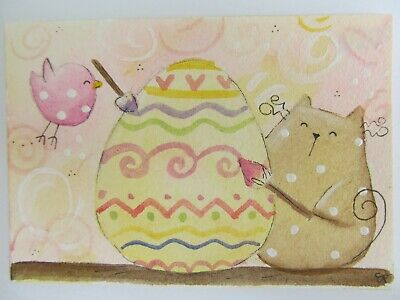 ACEO Original Watercolor Happy Cat Little Bird Easter Painted Egg by Elisa Fermo