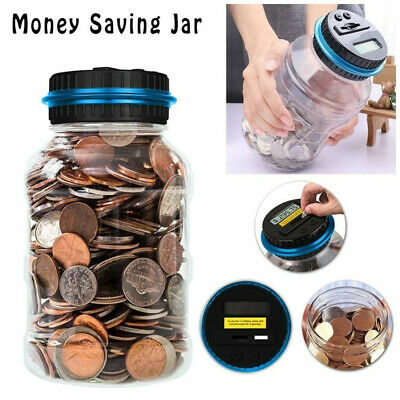 Coin Counting MONEY JAR Cup Dollar Digital LCD Automatic Counter Piggy Bank Box