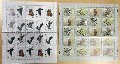 Lot of 2 Full Pane Canada Post Animal Themed Postage Stamps @ Face Value