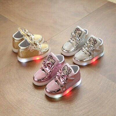Kids Girls Light Up Shoes LED Flashing Trainers Cute Casual Sneakers Toddlers
