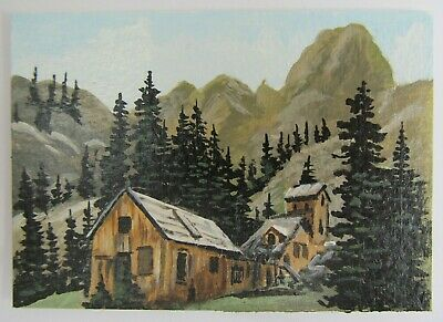 ACEO Original Acrylic Painting Landscape Old Ghost Camp by Artist Joan Hutson