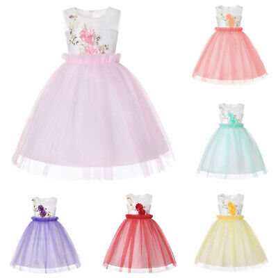 Kids Girls Dress Baby Toddler Pageant Prom Princess Party Birthday Wedding Dress