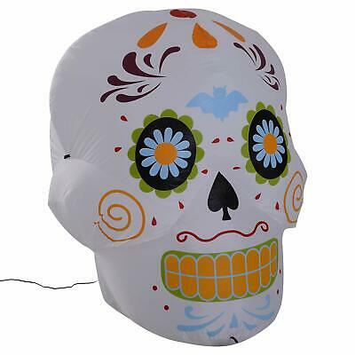 HOMCOM 4' LED Outdoor Halloween Inflatable Decoration - Day of The Dead Sugar...