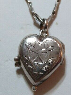 Antique Sterling Silver Engraved Design Heart Love Locket Pendant Necklace Chain