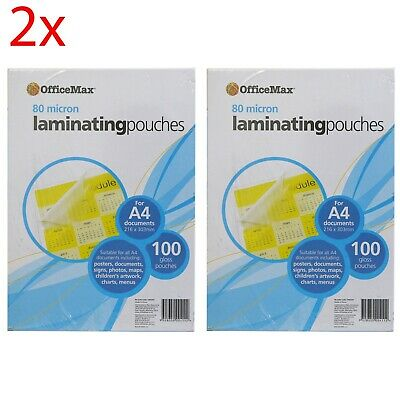 2 Packs of OfficeMax A4 Laminating Pouches 80 micron Gloss (100 sheet pack)