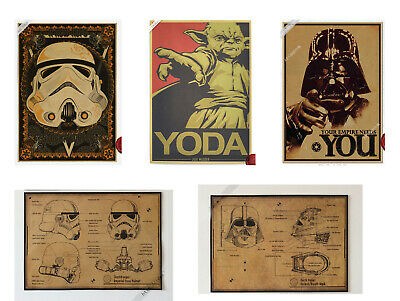 5 Pieces Star wars Yoda Darth Stormtrooper Poster Design drawings Poster