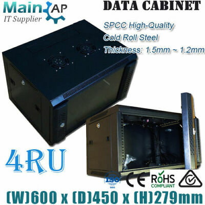 NETWORK DATA CABINET 4U 4RU 19'' 450mm DEEP WALL MOUNT SERVER DATA RACK Combo