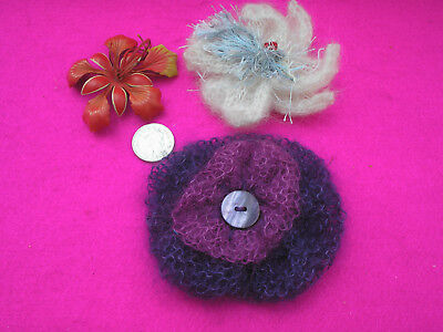 Costume Jewellery Broaches X 2 'Hand Knitted' White/Purples Leather X 1Oranges
