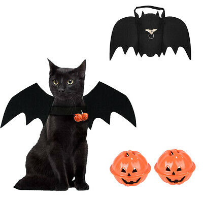 Pet Cat Dog Costume Bat Wings Halloween Cosplay or 2Pcs Dog Collar Pumpkin Bell