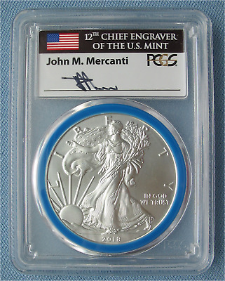 2018-W Burnished Silver Eagle - PCGS Graded SP70 Mint Engraver Series Mercanti