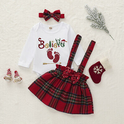 UK Infant Baby Girl Kids Christmas Romper + Strap Dress + Headwear Party Clothes